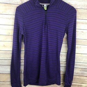 Smart Wool Purple Striped Long Sleeve Top